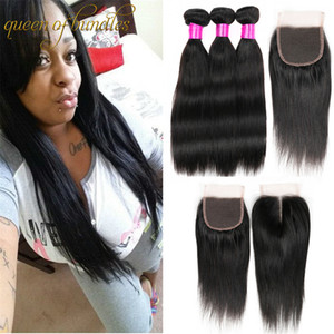 Malaysian Unprocessed Human Hair Weaves With Lace Closure Malaysian Brazilian Straight Virgin Hair 3 Bundles With Closure Hair Extensions