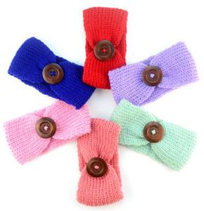 New Baby Girls Moda Lã Crochet Headband Malha Hairband Com Botão Decoração Inverno Recém-nascido Infantil Ear Warmer Cabeça Headwrap 60 pcs