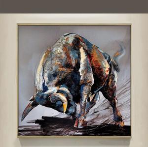 Di alta qualità dipinta a mano hd stampa moderna astratta arte animale pittura a olio toro su tela wall art home decor multi a153