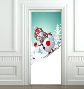 Christmas Snowman Skiing 3D Door Sticker Creative Self Adhesive Xmas Wallpapers Removable Bedroom Living Room Wallpaper