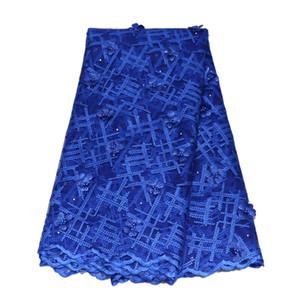 Mais recente Africano 3D Tecido de Renda 2018 de Alta Qualidade Rendas Bordado Azul 2018 Francês Guipure Rendas Nigerianas Tecidos HJ897-1