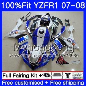 화이트 블루 스톡 주입 바디 YAMAHA YZF R1 YZF-1000 YZF-R1 07 08 227HM.25 YZF 1000 YZFR1 07 08 YZF1000 YZF R1 2007 2008 Fairing Kit