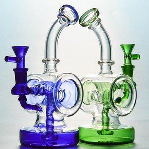 Verde Azul Bong Tron Luz Ciclos Bongs com tubos Showerhead Para Tron Disc Perc Dab Rigs Circular água de câmara com 14 milímetros bacia