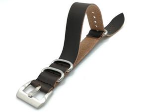 Новый высокого класса Зулу натуральная кожа черный коричневый серебряная пряжка черная кнопка Зулу НАТО кожа коровьей кожаный ремешок Оптовая