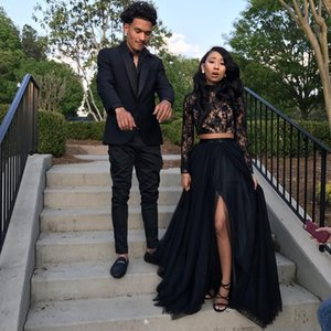 Victorian Gothic Black Prom Dresses Two Pieces 2019 Hot Selling A-Line Sexy High Split High Neck Lace Long Sleeve Evening Party Gowns P004