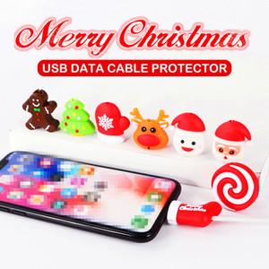 Komik Kablo Bite Koruyucu Oyuncak Noel iPhone Kablo Organizatör Sarıcı Telefon Tutucu Aksesuarları Için perakende paketi ile