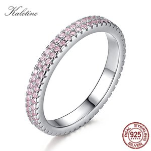KALETINE Pink CZ Stones Ring Women Sterling 925 Silver Rings Shinning Crystals Luxury Silver Jewelry Wedding Band Gifts KLTR143