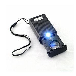 Herramienta Negro 30x 60x Tipo de tracción Joyero de luz LED que identifica la lupa óptica lupa lupa Len Herramienta de reparación de relojes
