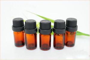 uçucu yağlar aromaterapi için siyah açılan kapak damlalık euro ile Küçük Amber Cam şişe Şişeleri Konteynerler 5ml Yeni 1000pcs / lot