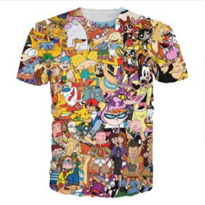 Оптовая продажа-новые моды мужские / женские летние стиль мультфильм полностью 90-х годов смешные 3D печати повседневная футболка DXR0071