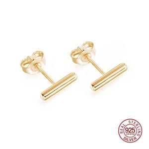 Einfache 925 Sterling Silber Ohrstecker Bar Ohrringe Linie Mode Runde Stick Frau Jede Abnutzung ZK30