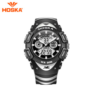 Brand HOSKA men's watch men digital watch Quartz two display student digital-watch sport waterproof 50M
