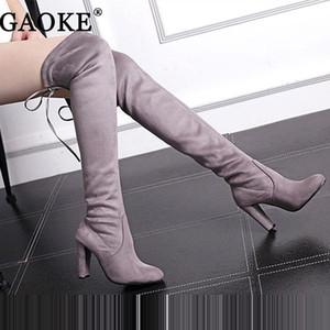 Botas de gamuza altas sobre las rodillas de las mujeres Estiramiento Botas Sexy Zapatos de tacones altos Overknee Zapatos Negro Gris Vino Rojo para Mujeres