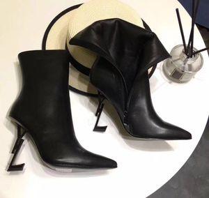 Top qualité bout pointu femmes en cuir bottines noir thrill lettre talons pompes femme à talons hauts robe de mariée chaussures de mariée