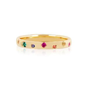 Simples banda de ouro anel de moda jóias pavimentadas arco-íris cz CUBIC ZIRCONIA clássico simples banda anéis de dedo