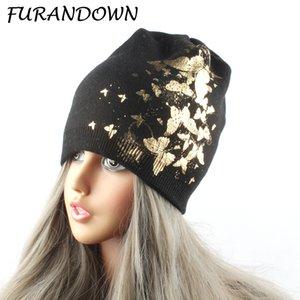 FURANDOWN бабочка печати шапочки для женщин женские зимние вязаные шерстяные шапки Марка Skullies Cap D18110102