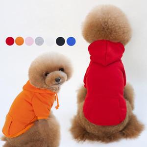 New Hoodies Dog com o Pocket cor sólida cão camisola de algodão roupas para cachorros em branco velo das camisolas camisola com o Pocket Sweater Pet