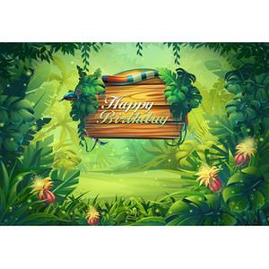 Il serpente del bordo di legno su misura contesto del partito di compleanno della giungla ha stampato gli alberi verdi dei fiori del bambino scherza gli ambiti di provenienza incantati della foresta