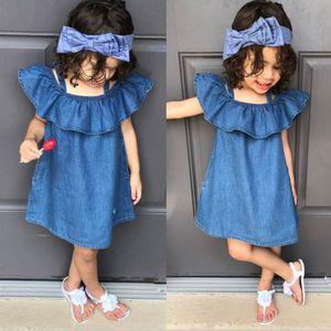 New Baby Girls off spalla Denim Dress Summer Ruffled Blue Sundress Casual tinta unita Prom Dresses Abbigliamento per bambini Ragazze Costume Party