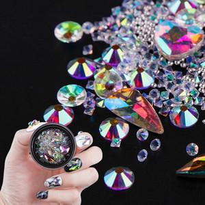 Coloré Nail Art Décoration Charme Perle Gem Perles Strass Creux Shell Flocon Flatback Rivet Mixte Brillant Brillant 3D DIY Accessoires