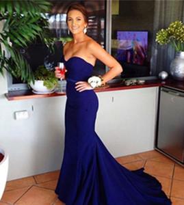 Eleagnt женщины милая атласная ong королевский синий платья невесты молния длина пола без рукавов Русалка выпускного вечера платья для свадьбы