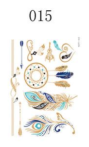 7 Pçs / lote Alta Qualidade de Ouro E Tatuagens Coloridas Não-tóxico Temporária À Prova D 'Água Tatuagens Venda Quente Sexy Metálico Mandala Tatuagens Novas Tendências