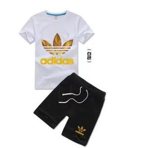 Nueva marca para niños Conjunto de ropa para niños Traje deportivo para niños Camiseta de manga corta Jersey + shorts Pantalones cortos Ropa para niñas Chándal