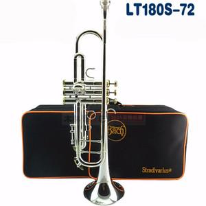 Bb Trompeta Bach LT180S-72 Instrumentos Profesionales Plateado Plateado Amarillo Latón Instrumento Musical de Alta Calidad Bb Trompeta