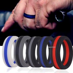 Anel de pouco peso do ajuste confortável do casamento flexível do silicone do anel de casamento do silicone para o projeto confortável multicolorido dos homens