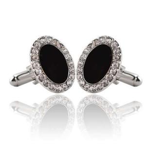 1 paire de haute qualité strass luxe cristal noir charme occasionnels boutons de manchette mode hommes chemise affaires bijoux boutons de manchette bouton