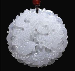 Dragón de jade blanco natural de Afganistán y colgante de Phoenix