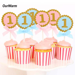 OurWarm 10 Unids 1st Birthday Cake Toppers Fiesta de Cumpleaños Decoraciones Niños Ronda Rosa Azul Magdalena Topper Cake Decorating Supplies