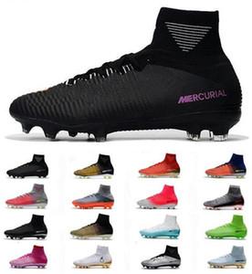 새로운 최고 Mercurial ACC Superfly V CR7 FG 망 축구화 Cristiano Ronaldo Football 부츠 High Heel 남자 축구화 Cheap Soccer Cleats