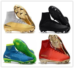 Original Rouge Or Enfants Football Crampons Mercurial Superfly CR7 Enfants Chaussures De Football Haute Cheville Cristiano Ronaldo Femmes Football Bottes