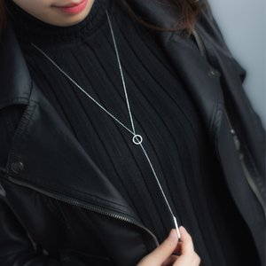 women's Real. Sterling Silver Jewelry Lucky Bar Lariat Necklaces Sweater Necklace Long 925 -Sterling -Silver GTLX1196 Y18102910