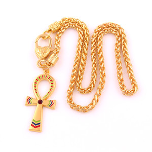 Vintage Ankh Egípcio Cruz Da Vida Pingente de Colar de Ouro Charme Ornamento De Cristal Trigo Cadeia Colar de Jóias