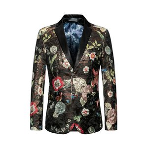 Jacquard Floral Blazer Slim Masculino Prom Party Cloth 2018 Flower Suit Jacket Mens Stylish Blazer Plus Size 5xl