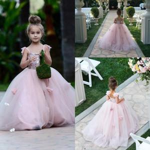 2018 da menina Flor Blush rosa Spaghetti Tulle A Linha Vestidos Lace Applique Ruffles o chão da menina Pageant Vestidos BA1419