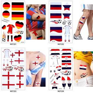 50 pezzi / lottp Autoadesivo del tatuaggio temporaneo del corpo della coppa del mondo Gioco di calcio Sport Russia Paesi Bandiere Tattoo Hot MOT glaryyears