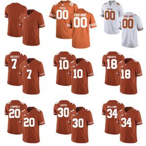Custom 2017 New Texas Longhorns College Football Limited Brunt Оранжевый белый Персонализированные Сшитые Любое Имя Номер # 7 # 10 Молодые Трикотажные S-3XL