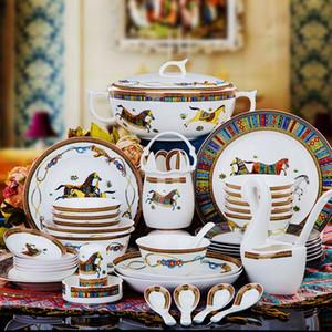Porcelana de hueso conjunto tazón plato 60 vajilla Jingdezhen de alto grado de cerámica Europea bordes de oro inicio de la casa de regalo de boda