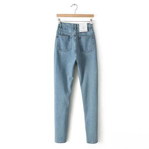 Denim Jeans a vita alta da donna a vita alta 2017 NVZHUREN Jeans a matita stile vintage slim per jeans da donna di alta qualità