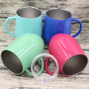 9 once Egg Cup Wine Glass Con maniglia in acciaio acciaio verniciato a polvere di moda a forma di uovo Wine Glasses Viaggi boccali CCA8905 50pcs