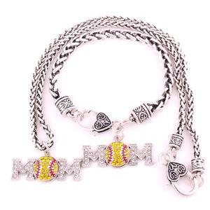 Envío gratis rodiado plateado Zinc tachonado con cristal espumoso Baseball Softball MOM Charm Pendent Necklace pulsera conjunto de joyas