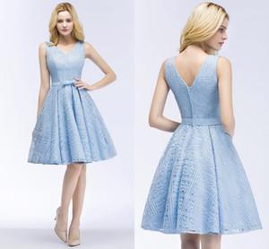 2018 neue Designer Light Sky Blue Short Lace Cocktailkleider Günstige V-Ausschnitt knielangen Homecoming Kleider CPS916