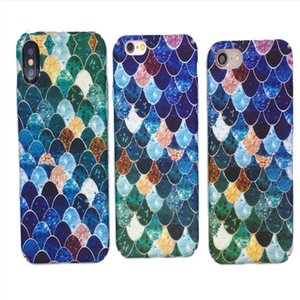 New deft designPeacock Green Blue Mermaid Scales Mobile Shell Frosted hard shell phone case PC material cell phone cases