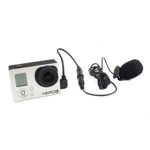 Accesorios profesionales de la cámara deportiva Mini micrófono externo de 3,5 mm con clip para el cuello en el micrófono para Go Pro Hero Session 4 3+ 3