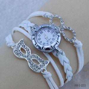Bijoux en cuir Womens Braid Bracelets Montre-bracelet Masque d'amour Bracelet AW-S-1015