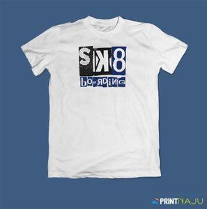 T-shirt Unisex, Grafik Tee, SK8, Yatılı, Paten, renk beyaz