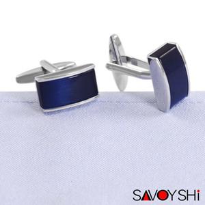 SAVOYSHI Low-chiave di lusso Blue Stone gemelli per camicia Mens Marchio Cuff Bottoni di alta qualità piazza gemelli Wedding Men Jewelry